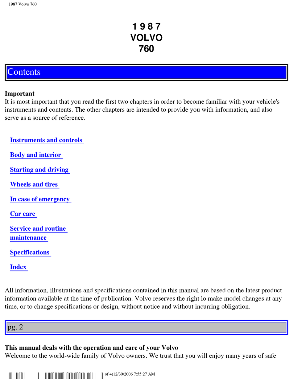 Volvo 760 Owner S Manual Pdf Download Manualslib
