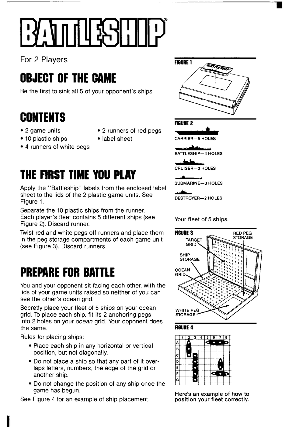 Milton Bradley Battleship Instructions Pdf Download Manualslib