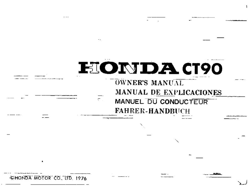 Honda Ct90 Owner S Manual Pdf Download Manualslib