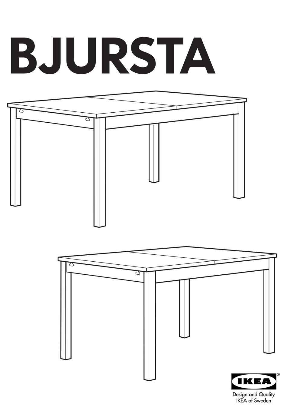 Ikea Bjursta Dining Table 55x33 Instructions Manual Pdf Download Manualslib