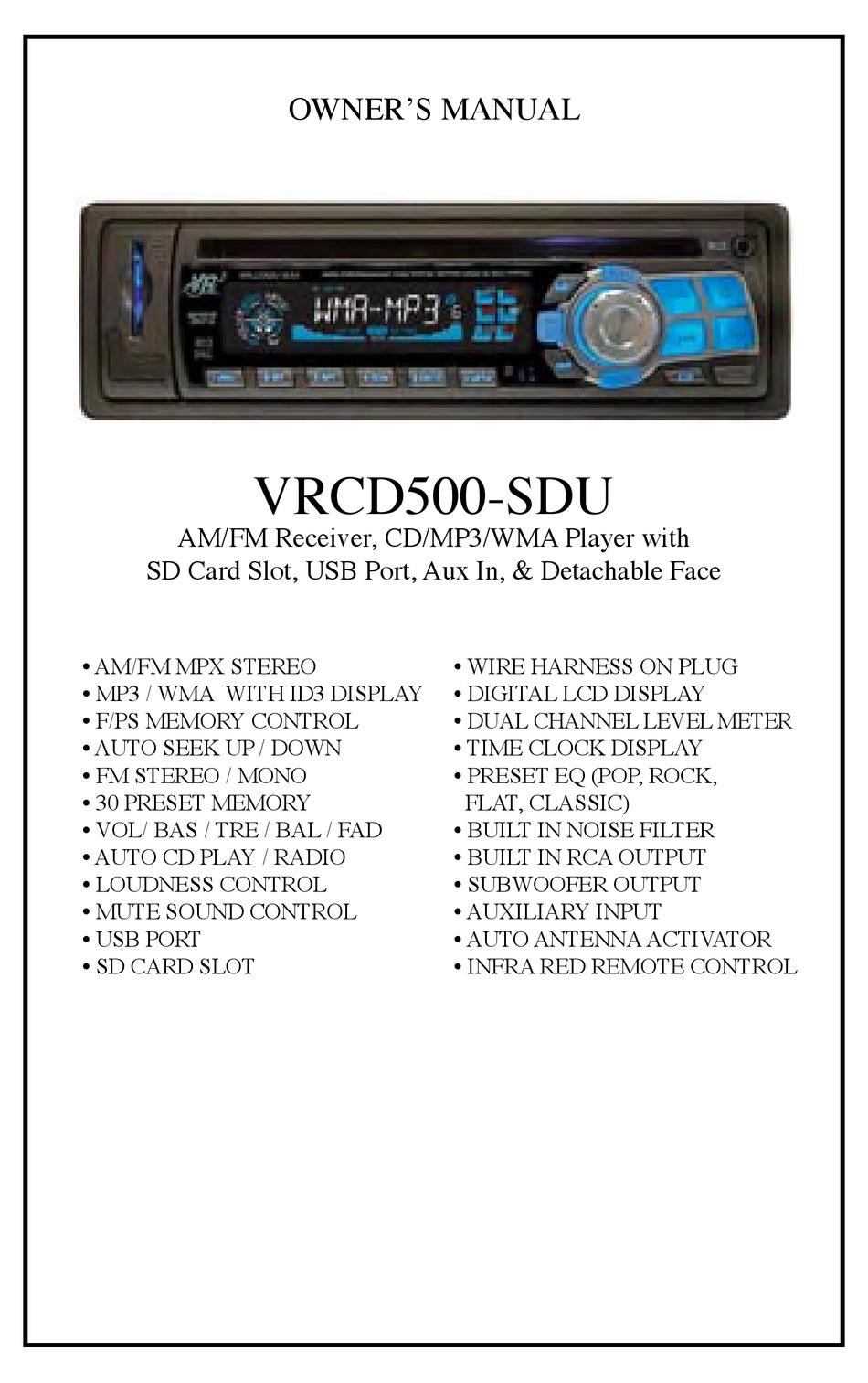 VIRTUAL REALITY VRCD500-SDU OWNER'S MANUAL Pdf Download   ManualsLib   Vr500cs Bt Wiring Harness      ManualsLib