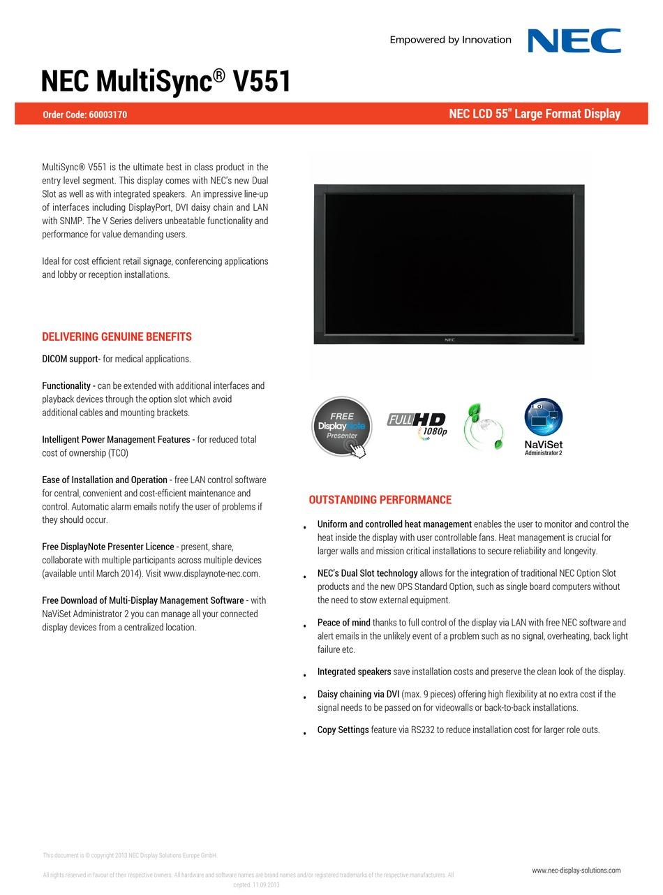 NEC MULTISYNC V10 SPECIFICATIONS Pdf Download   ManualsLib