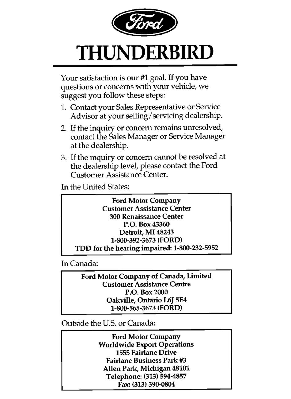 Ford Thunderbird Owner S Manual Pdf Download Manualslib