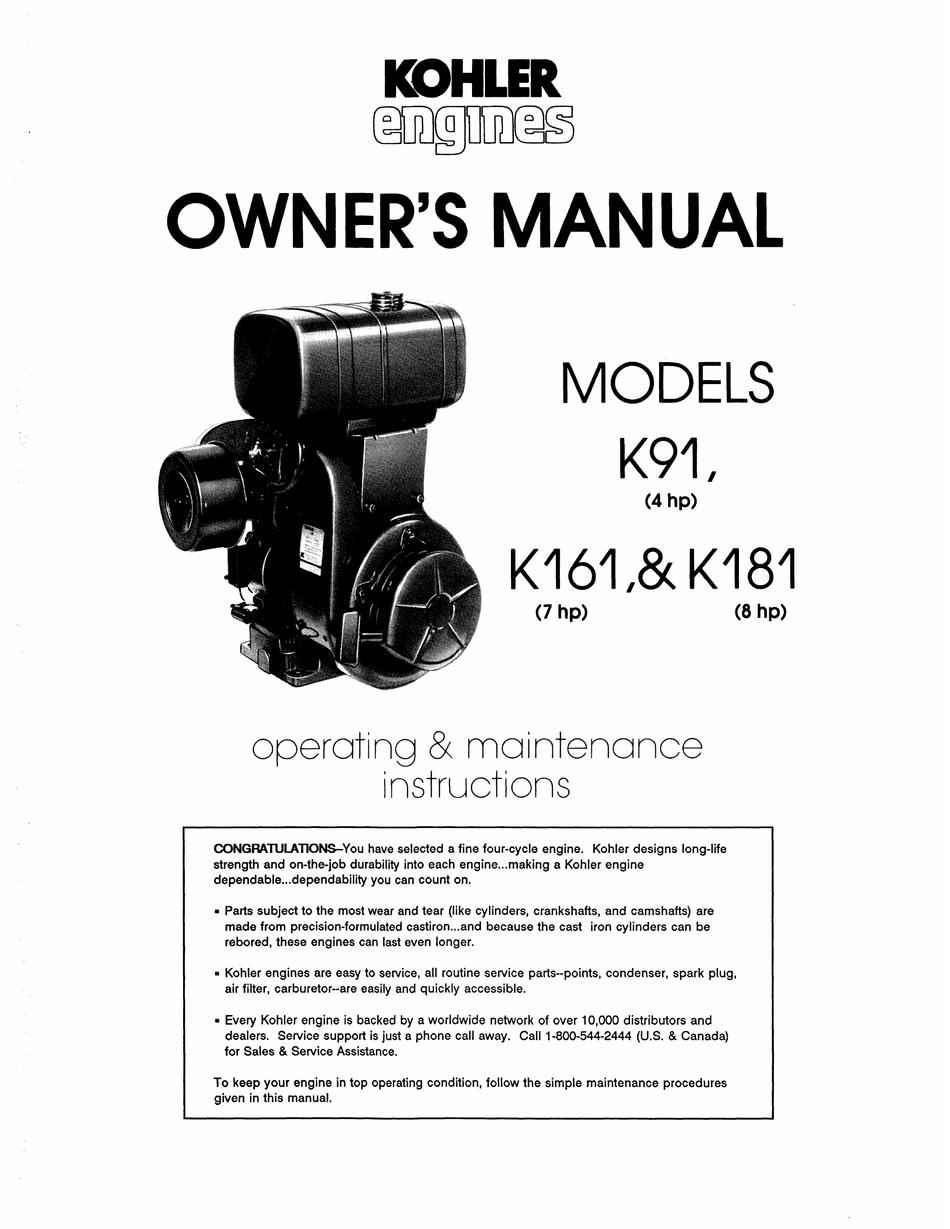Kohler K161 Operating Maintenance Manual Pdf Download Manualslib