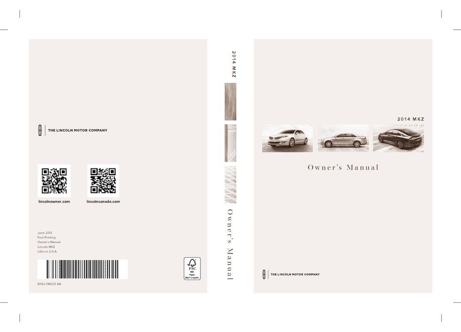 Lincoln 2014 Mkz Owner S Manual Pdf Download Manualslib