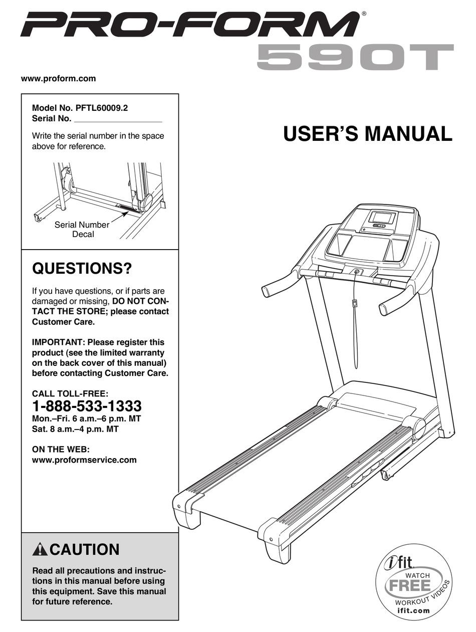 Proform 590t Treadmill Manual Pdf Download Manualslib