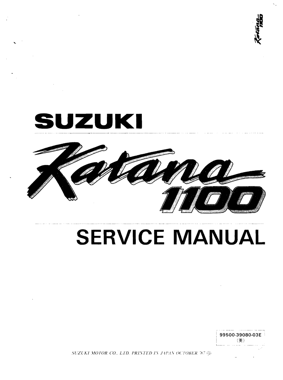 Suzuki Katana 1100 Service Manual Pdf Download Manualslib