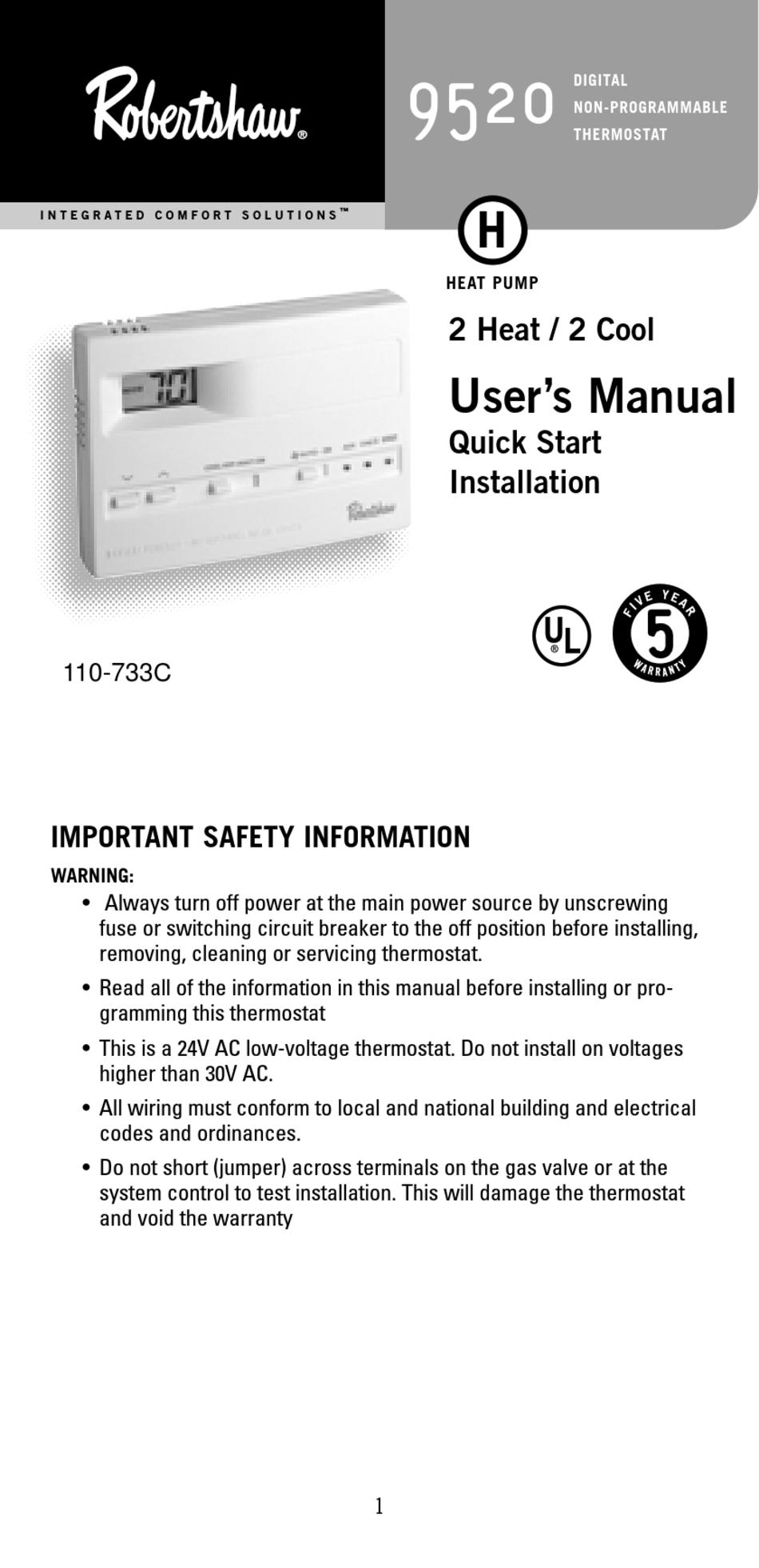 ROBERTSHAW 9520 USER MANUAL Pdf Download | ManualsLibManualsLib