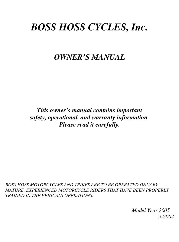 BOSS HOSS CYCLES YEAR 2005 OWNER'S MANUAL Pdf Download | ManualsLibManualsLib