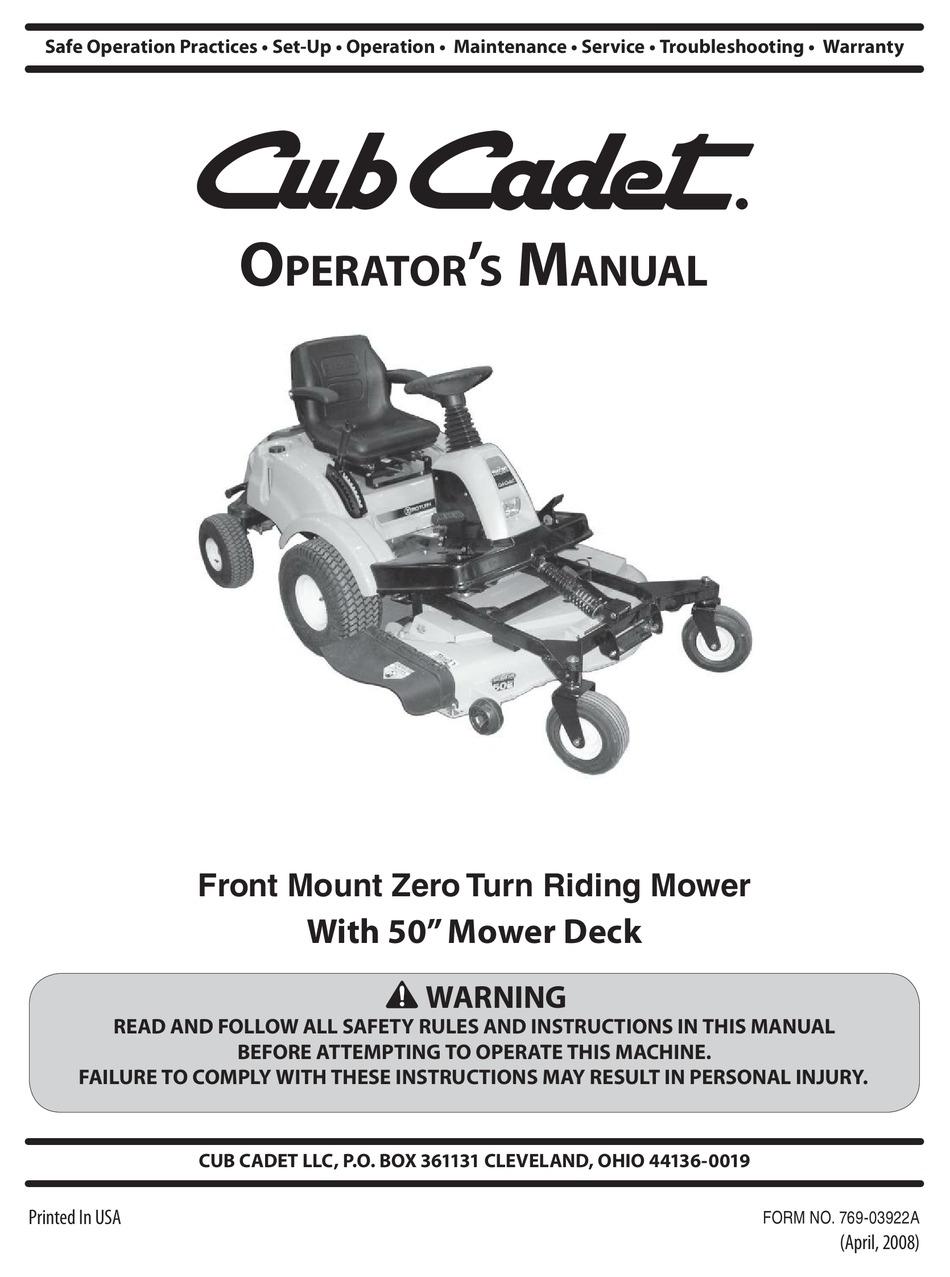 Cub Cadet Fmz50 Operator S Manual Pdf Download Manualslib