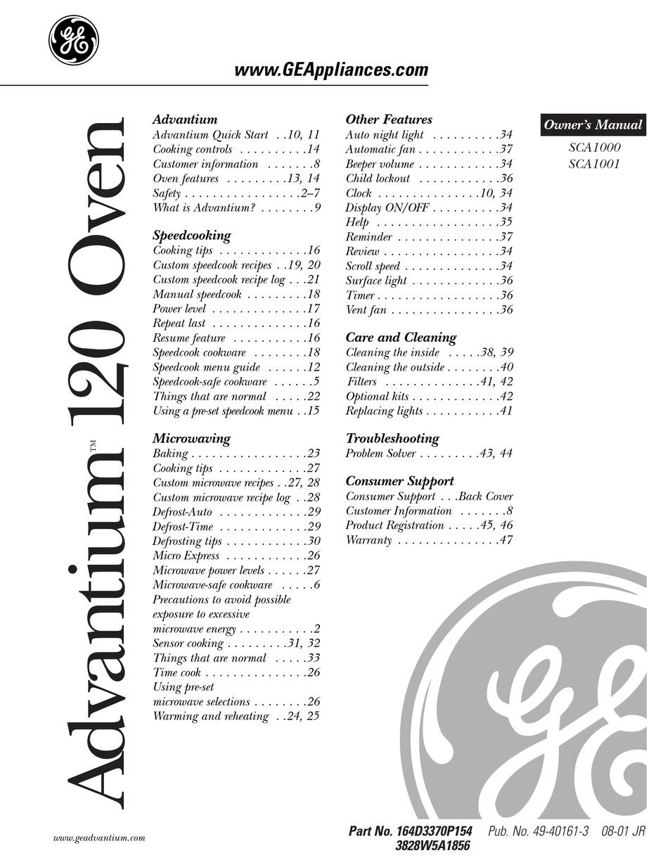 Ge Sca1000 Owner S Manual Pdf