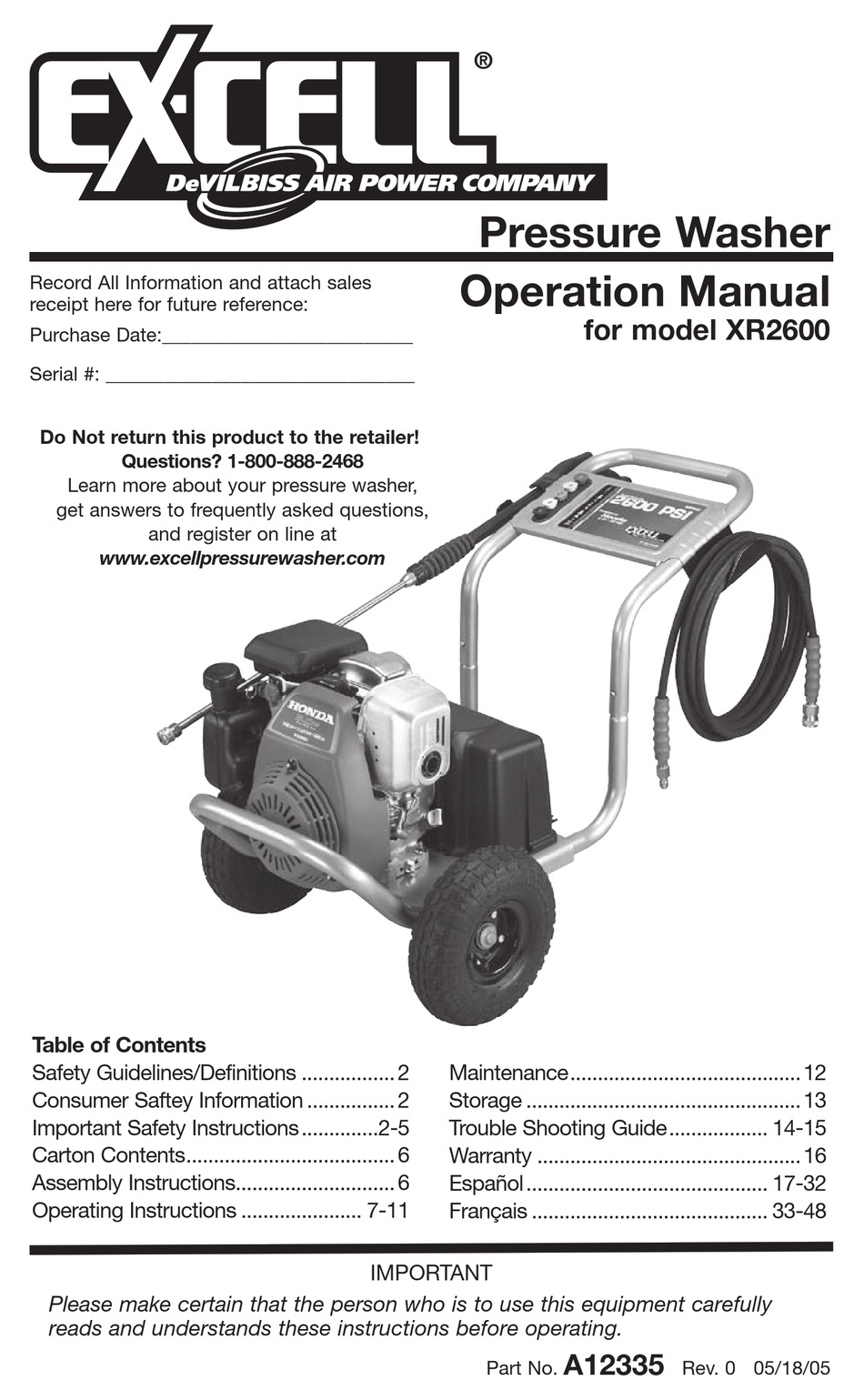 Excell Xr2600 Operation Manual Pdf Download Manualslib