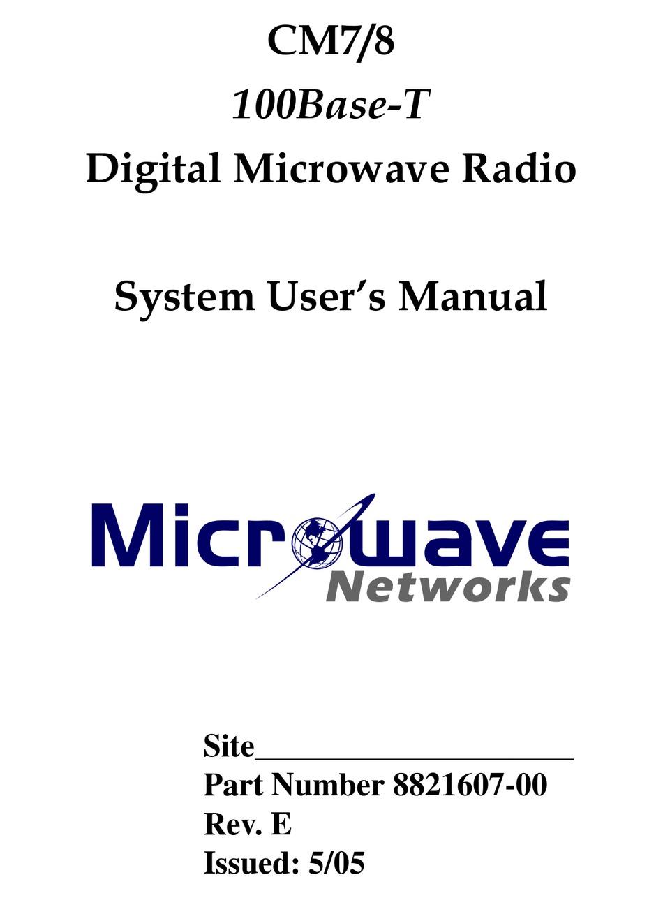 Microwave Networks Cm7 User Manual Pdf