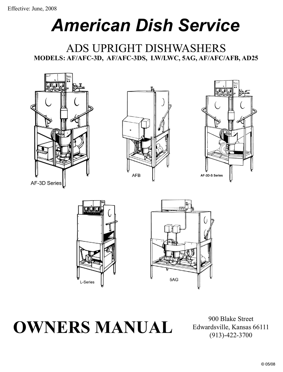 American Dish Service Af 3d Owner S Manual Pdf Download Manualslib