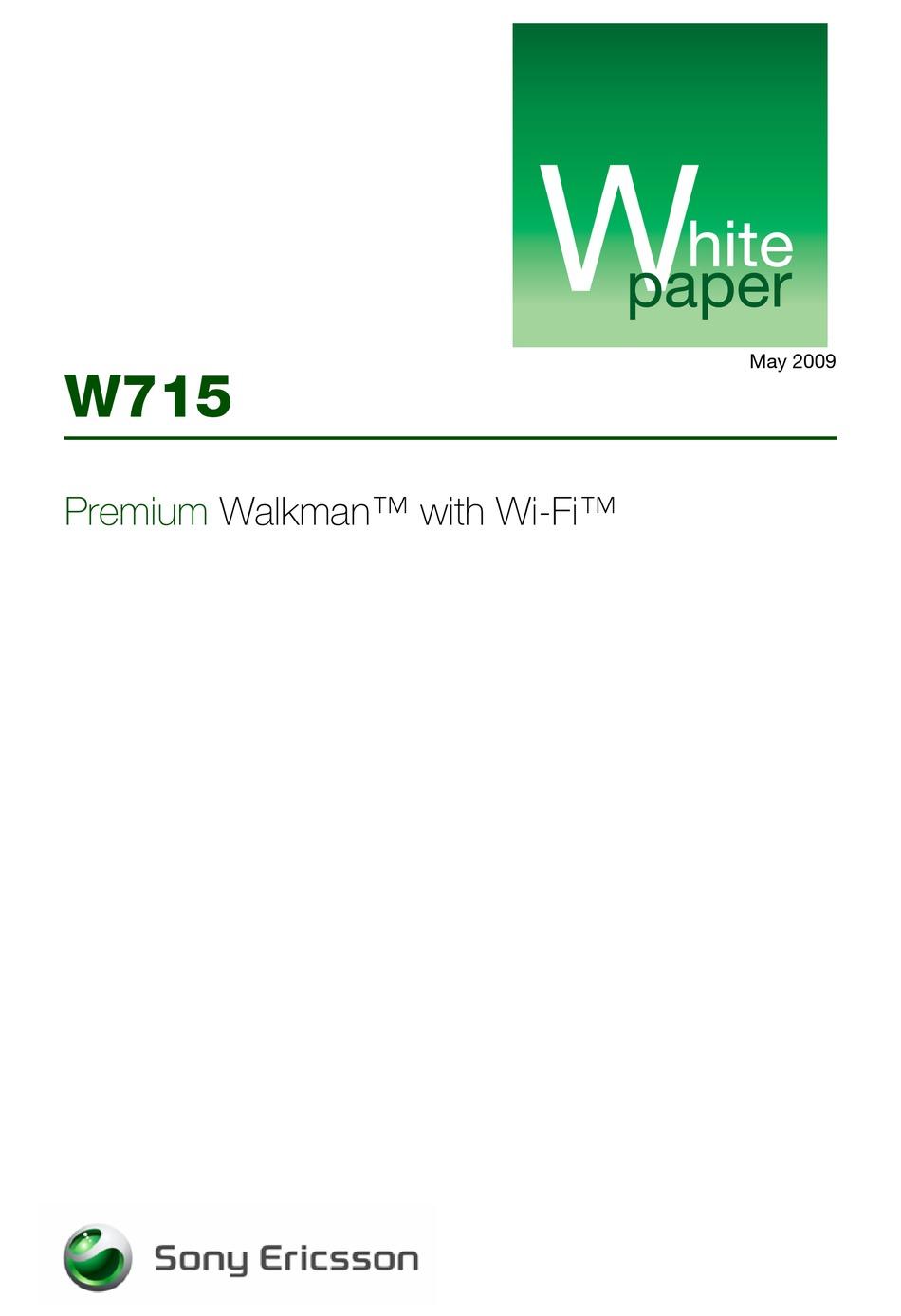 Sony Ericsson Walkman W715 White Paper Pdf Download Manualslib