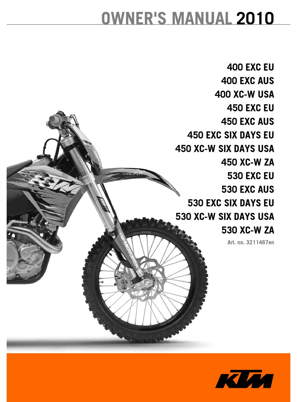KTM 400 EXC EU 2010 OWNER'S MANUAL Pdf Download | ManualsLibManualsLib