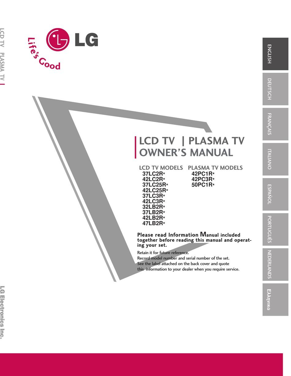 Lg 37lc2r Series Owner S Manual Pdf Download Manualslib