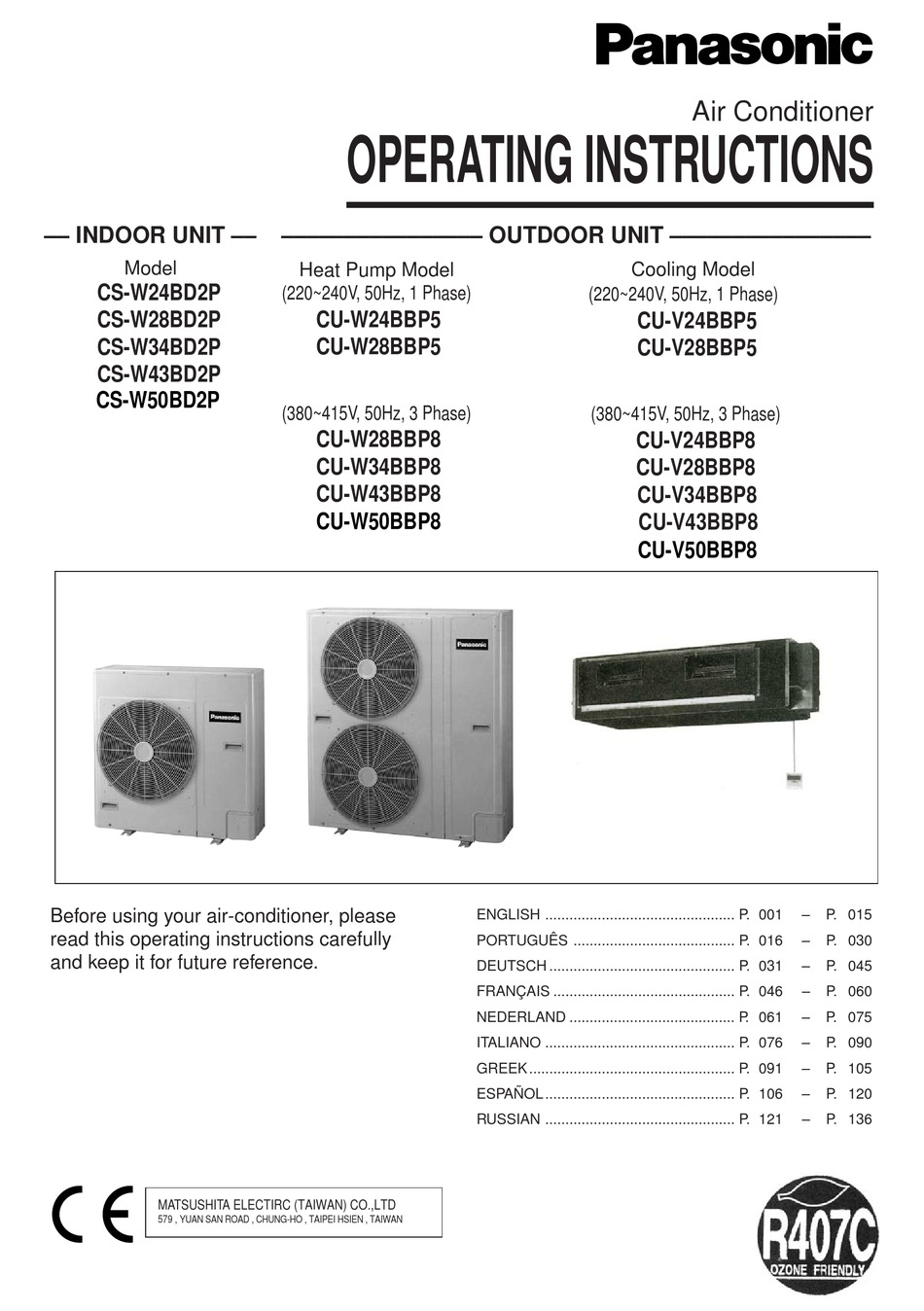 Panasonic Cs W24bd2p Operating Instructions Manual Pdf Download Manualslib