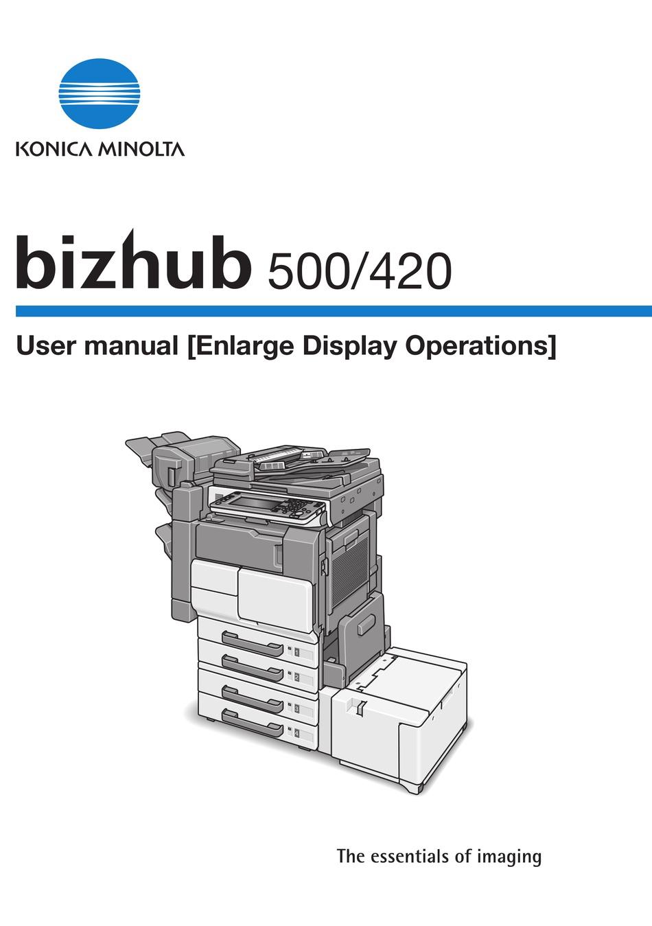 Konica Minolta Bizhub 500 User Manual Pdf Download Manualslib
