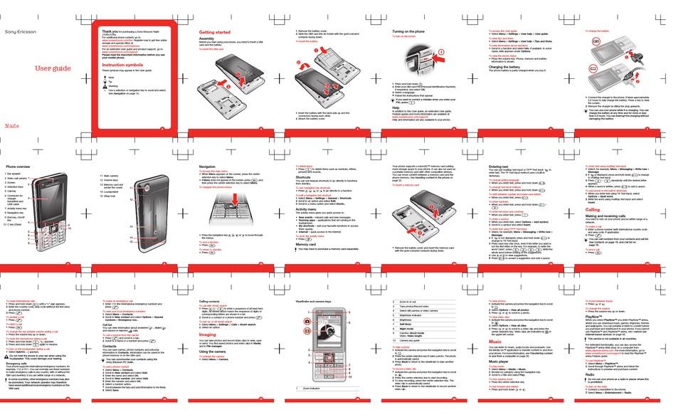 Sony Ericsson Naite J105i User Manual Pdf Download Manualslib