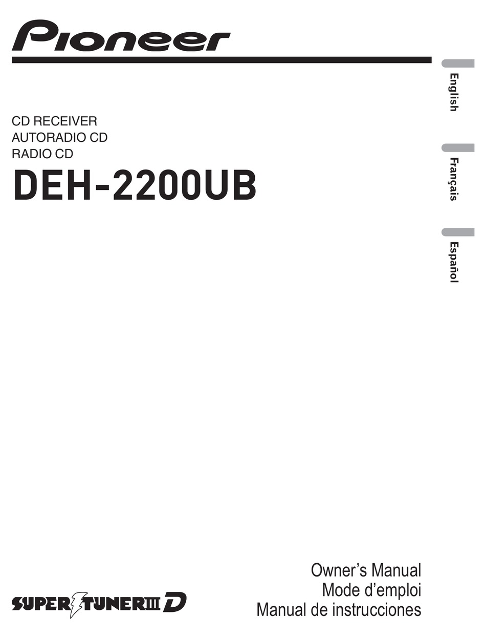 Pioneer Deh 2200ub Owner S Manual Pdf