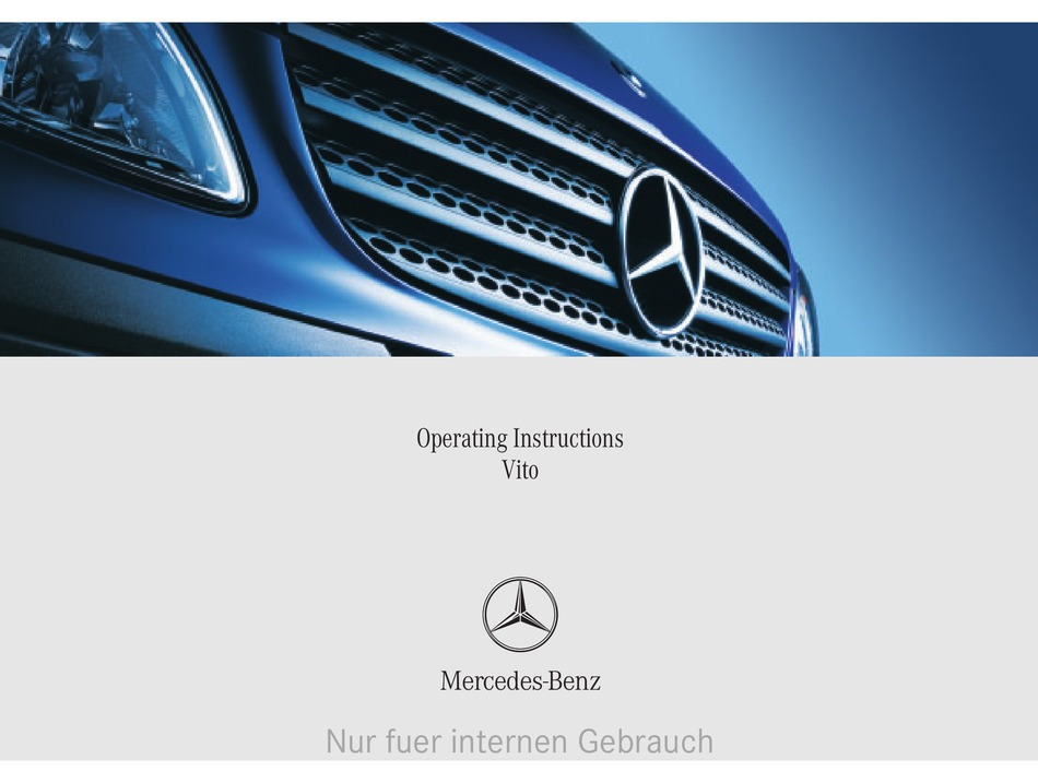 Mercedes Benz Vito Operating Instructions Manual Pdf Download Manualslib