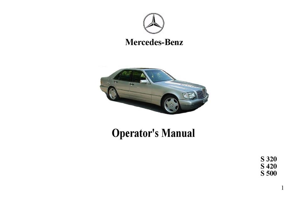 Mercedes Benz S500 Operator S Manual Pdf Download Manualslib