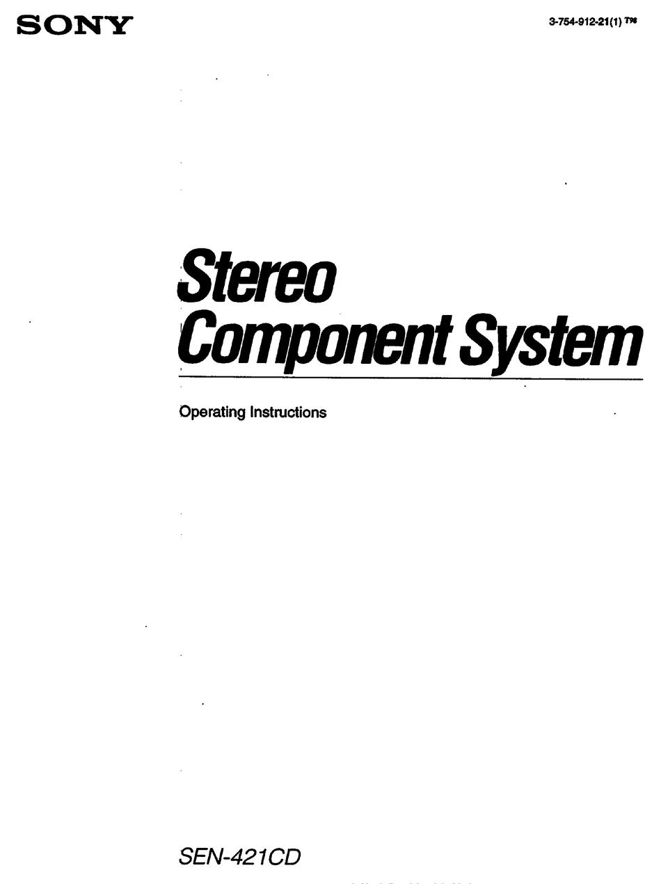 Sony Sen 421cd Operating Instructions Manual Pdf Download Manualslib