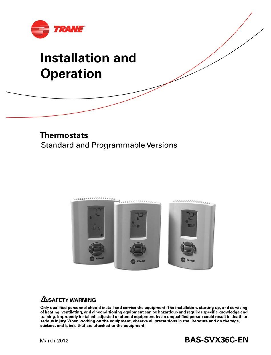 Trane Thermostats Installation And Operation Manual Pdf Download Manualslib
