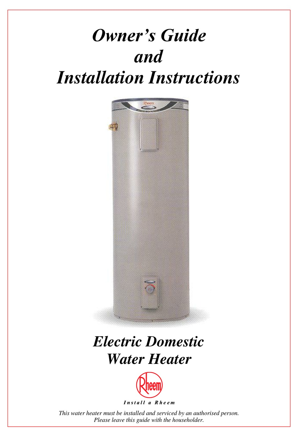 RHEEM ELECTRIC DOMESTIC WATER HEATER INSTALLATION AND OWNER'S MANUAL Pdf  Download | ManualsLib
