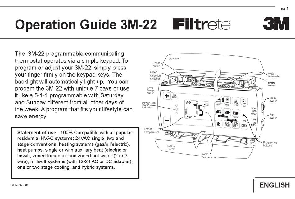 Filtrete 3m 22 Operation Manual Pdf Download Manualslib