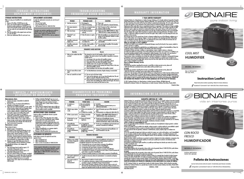 BIONAIRE BCM3656 INSTRUCTION MANUAL Pdf Download | ManualsLib