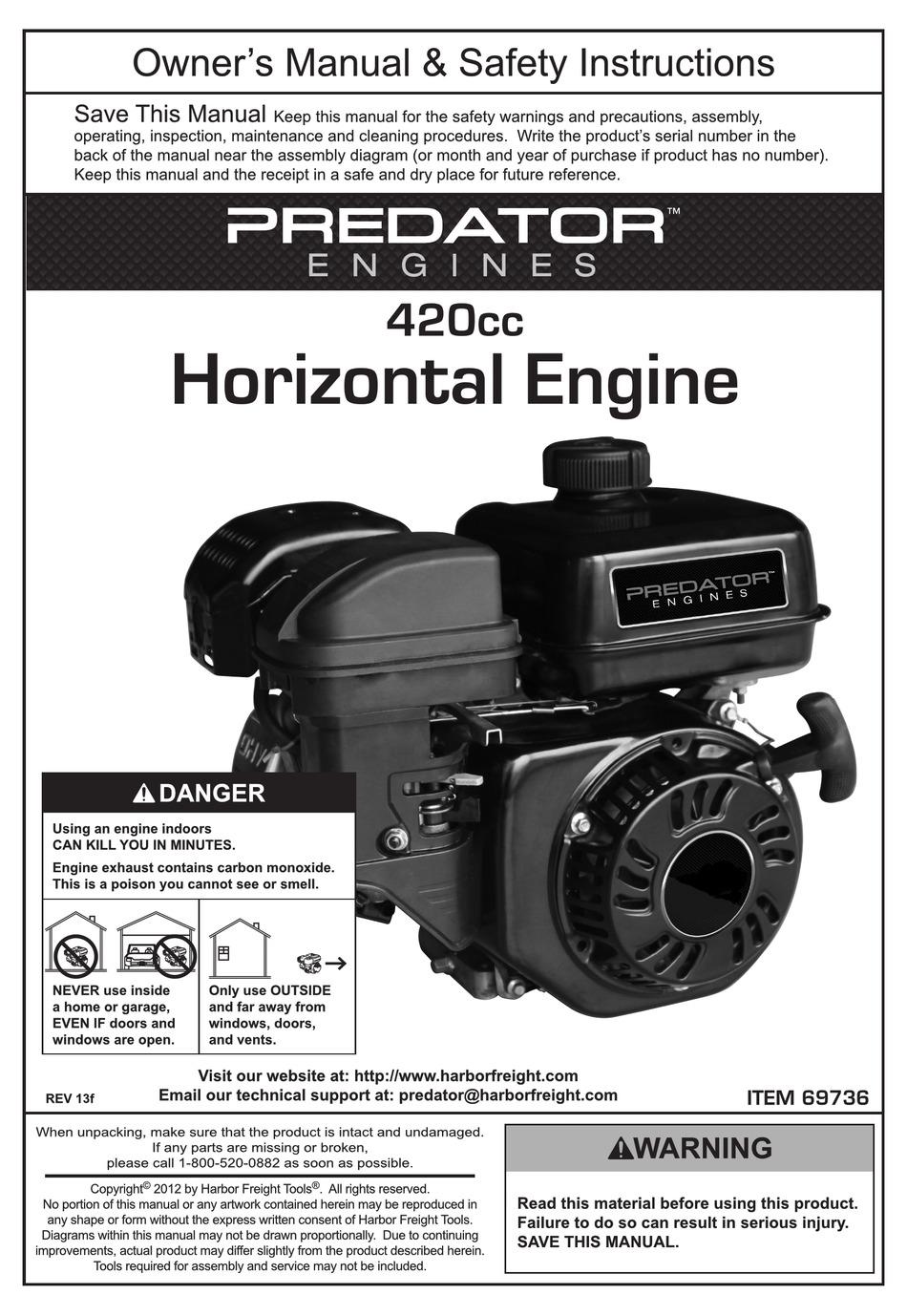 Predator Engines 420cc Owner S Manual Safety Instructions Pdf Download Manualslib