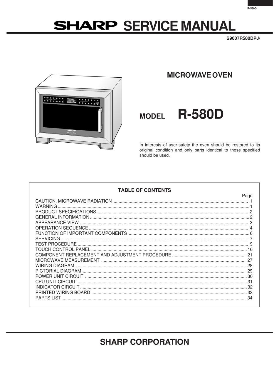 Sharp R 580d Service Manual Pdf