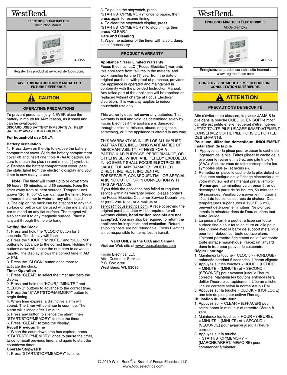 West Bend Electronic Timer Clock Instruction Manual Pdf Download Manualslib