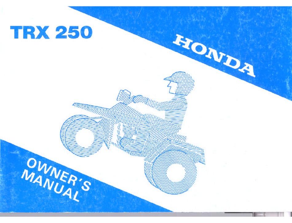 Honda Trx 250 Ower S Manual Pdf Download Manualslib