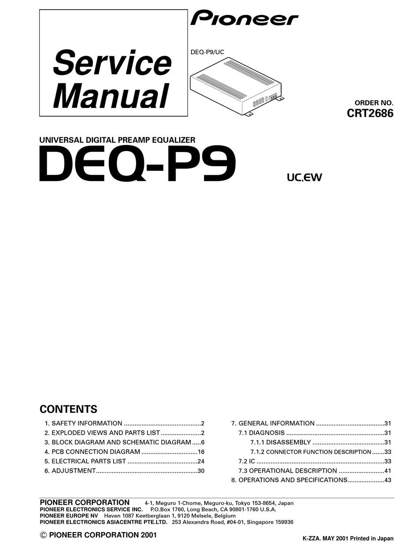 Pioneer Deq P9 Service Manual Pdf Download Manualslib