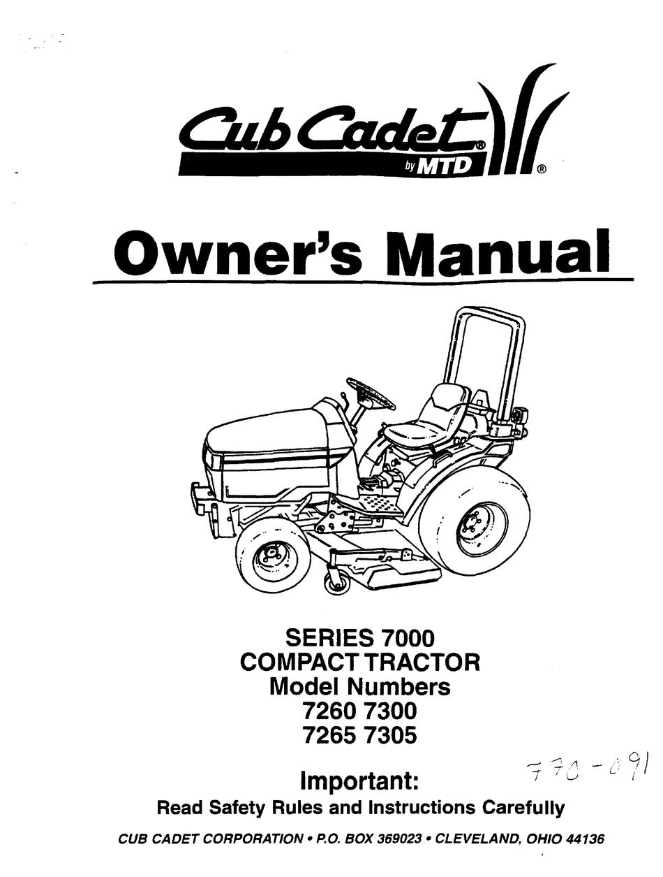 CUB CADET 7260 OWNER'S MANUAL Pdf Download | ManualsLibManualsLib