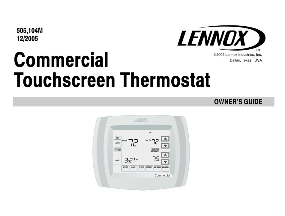 Lennox Commercial Touchscreen Thermostat Owner S Manual Pdf Download Manualslib