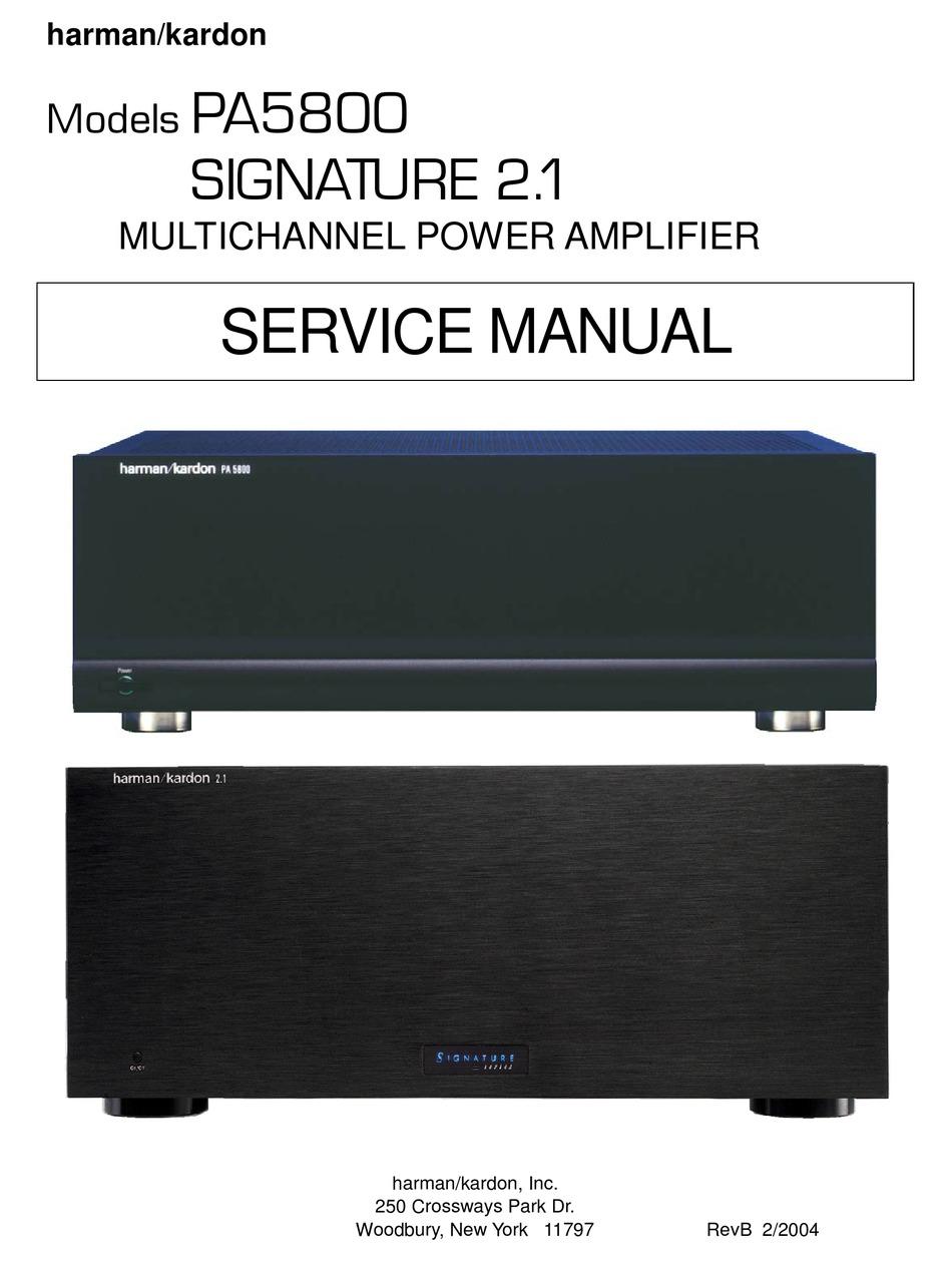 Harman Kardon Pa5800 Signature 2 1 Service Manual Pdf Download Manualslib