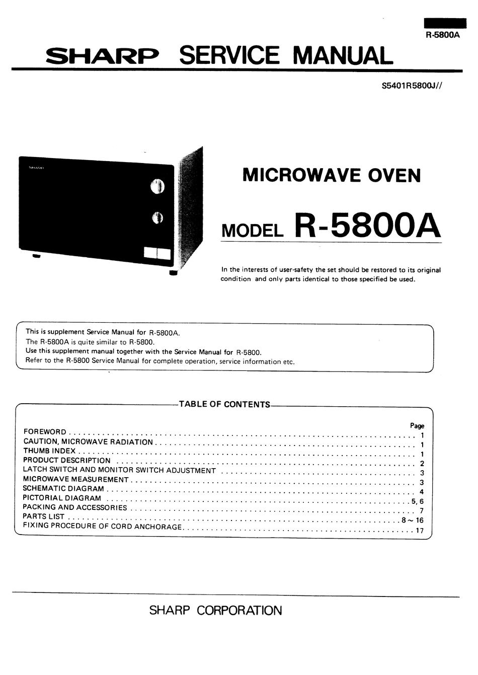 Sharp R 5800a Service Manual Pdf