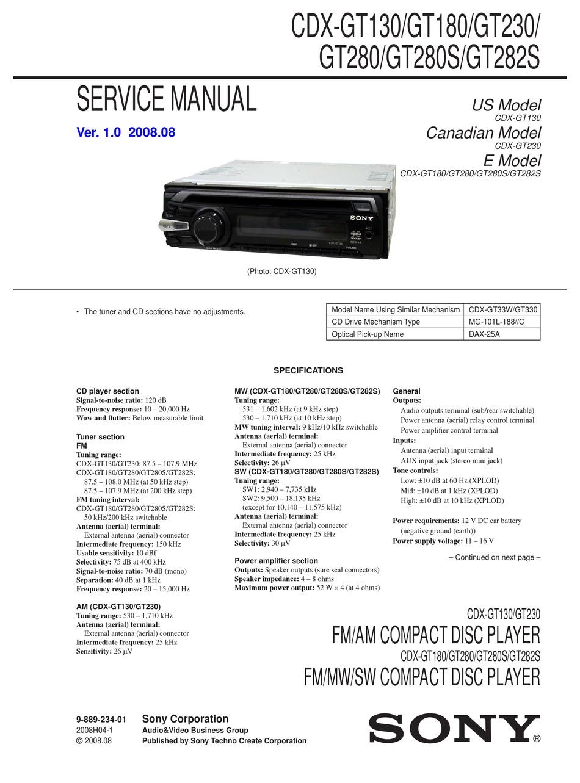 Sony Cdx Gt180 Service Manual Pdf