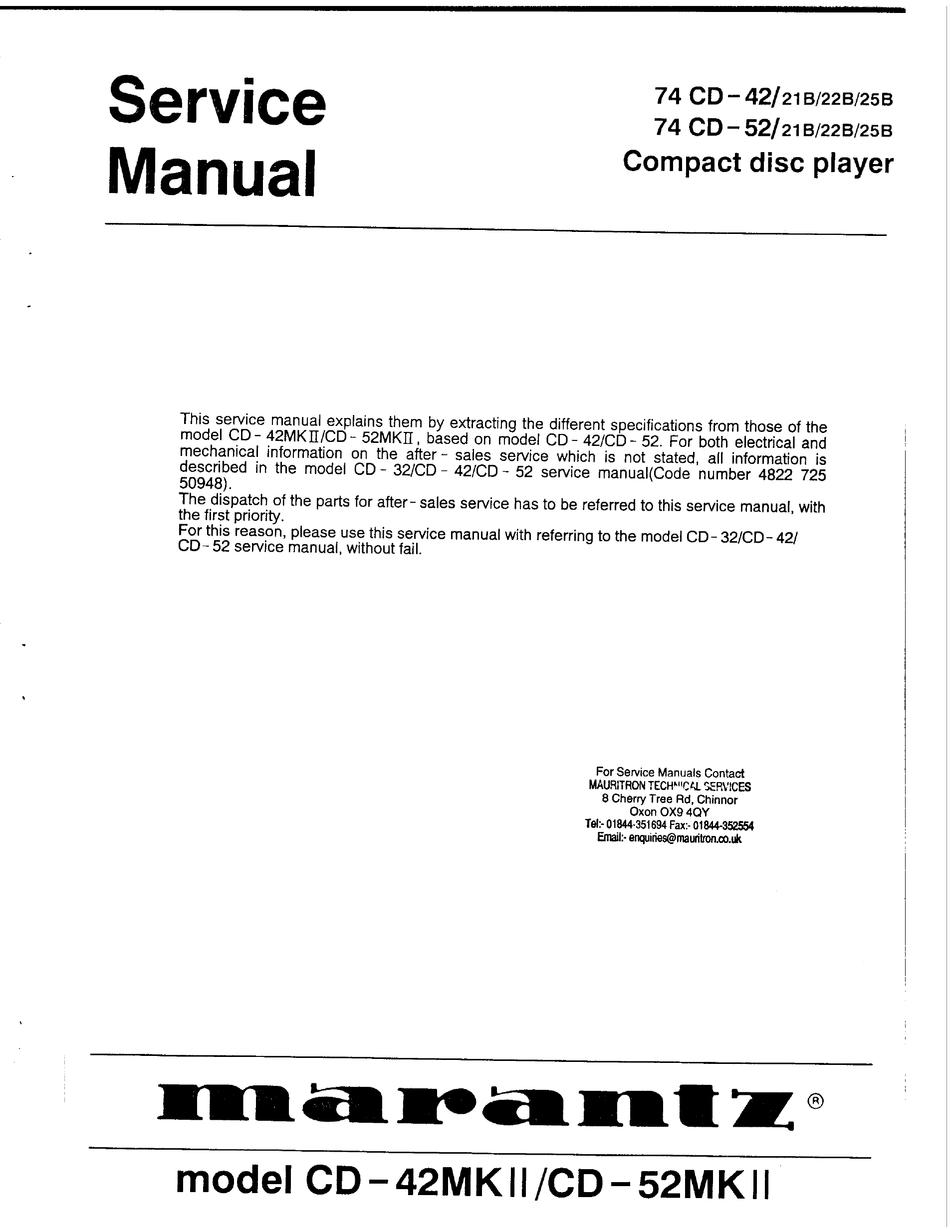 Marantz Cd 42mkii Service Manual Pdf Download Manualslib