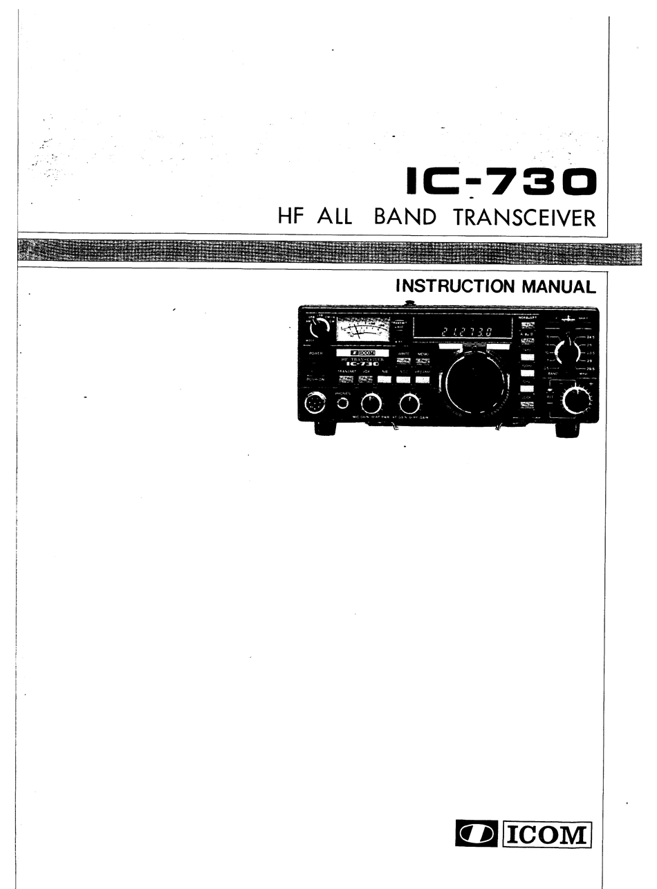 Icom Ic 730 Instruction Manual Pdf Download Manualslib