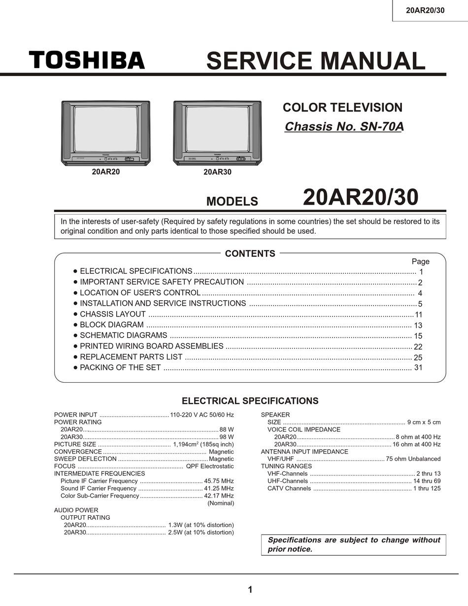 Toshiba 20ar20 Service Manual Pdf Download Manualslib