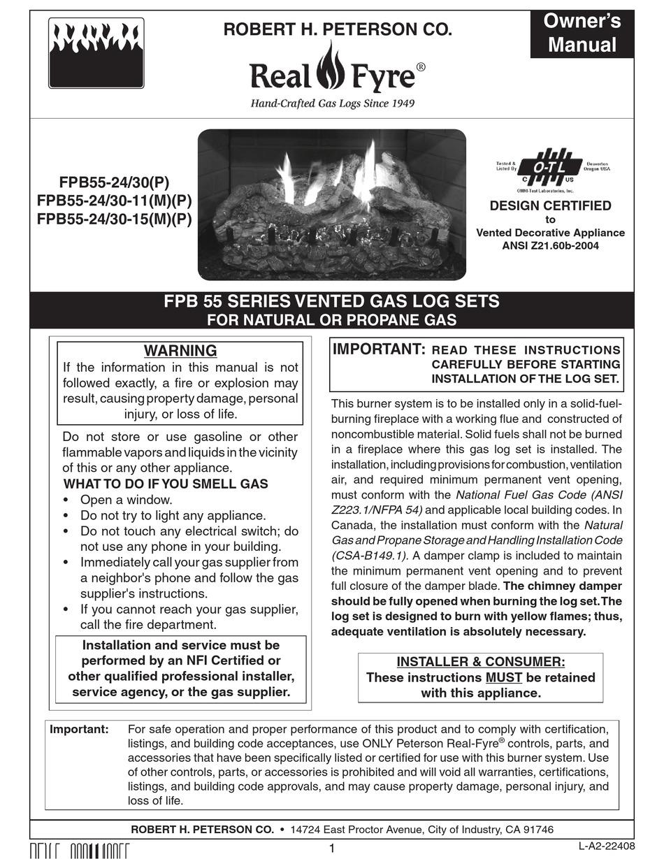 Real Fyre Fpb55 24 Owner S Manual Pdf Download Manualslib