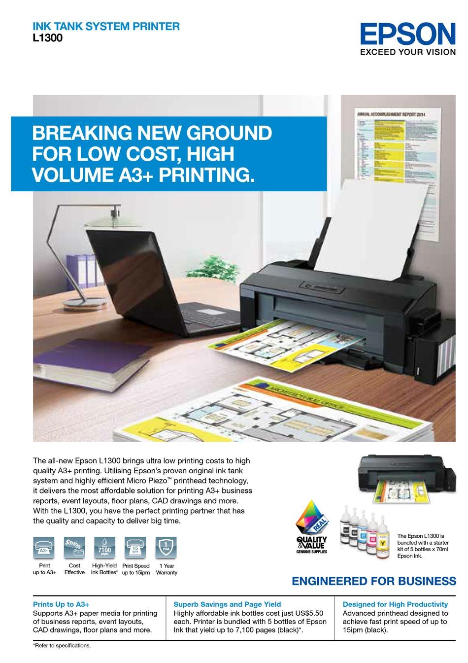 Epson L1300 Brochure Specs Pdf Download Manualslib