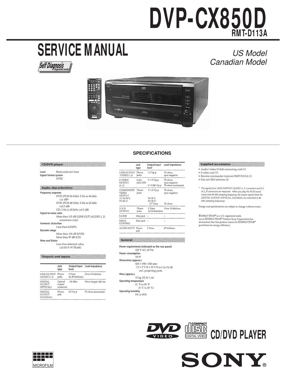 Sony Dvp Cx850d Service Manual Pdf Download Manualslib