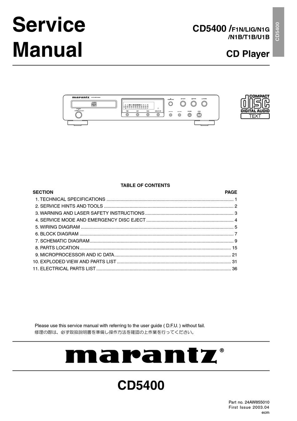 Marantz Cd5400 Service Manual Pdf Download Manualslib