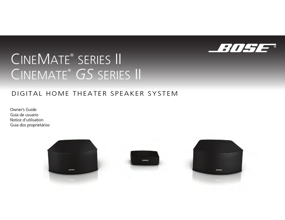 Bose Cinemate Series Ii Owner S Manual Pdf Download Manualslib